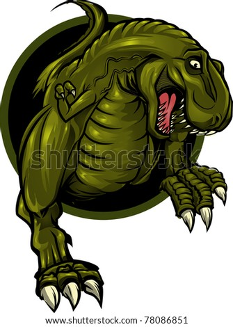 Dinosaur mascot/Roaring T-rex mascot! Separated into layers for easy editing. - stock vector