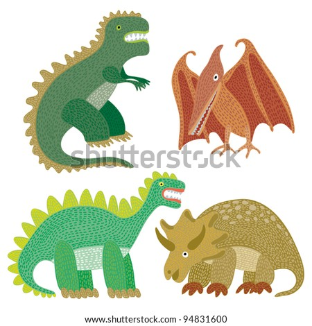 Dinosaur miscellaneous in a kid's appearance - stock vector