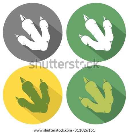Dinosaur Paw Flat Circle Design. Vector Collection Set - stock vector