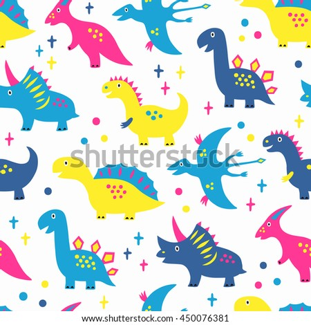 Dinosaur seamless background. Vector illustration. Baby cloth design, wallpaper, wrapping. - stock vector