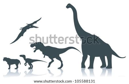 Dinosaur silhouettes - vector illustration - stock vector