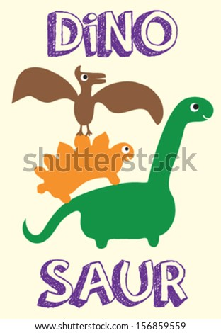 dinosaur/T-shirt graphics/cute cartoon characters/cute graphics for kids/Book illustrations/textile graphic/graphic designs for kindergarten/cartoon character design/fashion graphic/cute wallpaper - stock vector