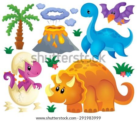 Dinosaur theme set 2 - eps10 vector illustration. - stock vector
