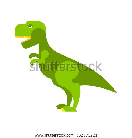 Dinosaur Tyrannosaurus. Angry ancient Predator. Big Reptile Jurassic period. Prehistoric green evil animal. Toothy scary t-rex dinosaur. - stock vector