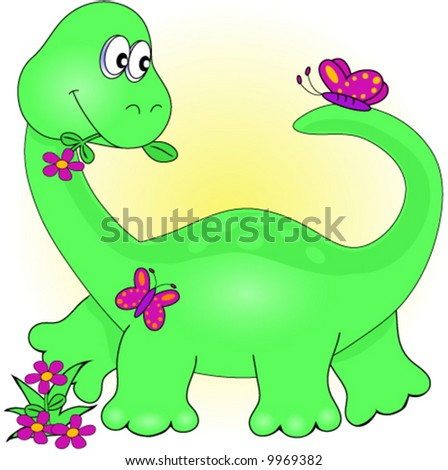 Dinosaur with Flowers and Butterfly Vector.