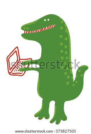 Dinosaur with laptop - stock vector