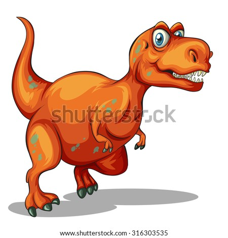 Dinosaur with sharp teeth illustration - stock vector