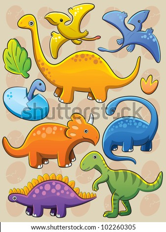 Dinosaurs Collection - stock vector