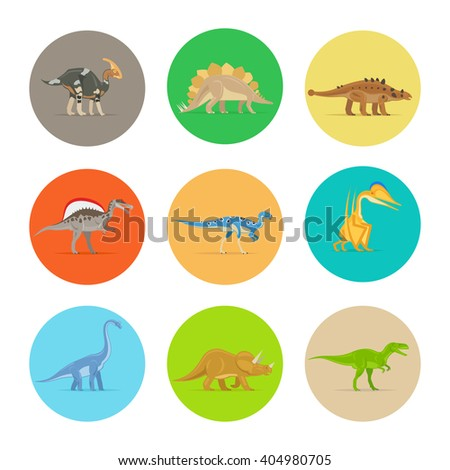 Dinosaurs flat colorful icons. Different types of dinosaurs in colored circles. Vector illustration - stock vector