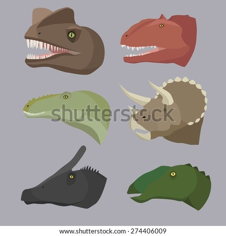Dinosaurs head image design set for illustration and other decoration and design needs.  - stock vector