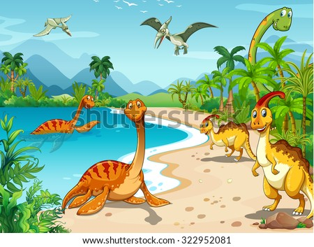Dinosaurs living on the beach illustration - stock vector