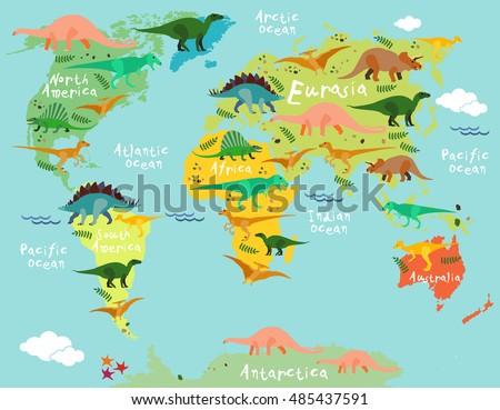 Dinosaurs Map World Children Kids Stock Vector 2018 485437591