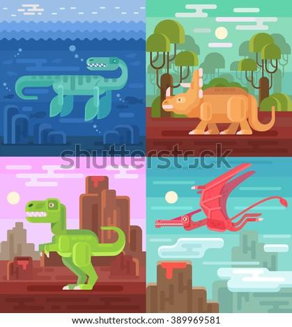 Dinosaurs set. Vector flat illustrations - stock vector