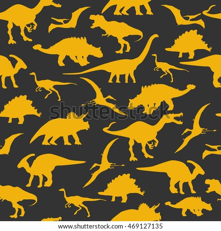 Dinosaurs silhouette seamless pattern colorful background