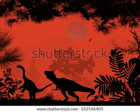 Dinosaurs silhouettes in beautiful landscape on red background, vector illustration - stock vector