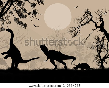 Dinosaurs silhouettes in beautiful landscape, vector illustration
