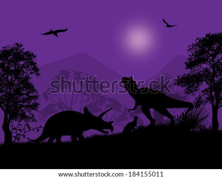 Dinosaurs Silhouettes - Tyrannosaurus T-Rex and Triceratops, in beautiful place , vector illustration - stock vector
