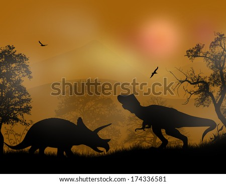 Dinosaurs Silhouettes - Tyrannosaurus T-Rex and Triceratops, in beautiful sunset, vector illustration - stock vector