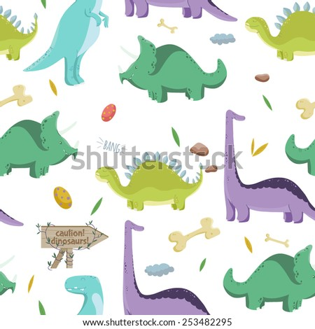 Dinosaurs. Vector seamless pattern with colorful dinosaurs on white background. Cartoon style.