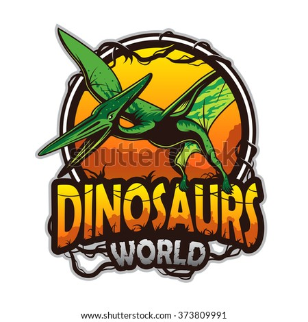 Dinosaurs world emblem with pterodactyl. Colored isolated on white background - stock vector