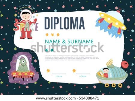 Certificate Kids Diploma Kindergarten Template Layout Vector – Santa Claus Certificate Template
