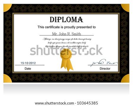 Diploma Certificate - stock vector