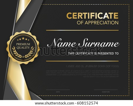 Diploma Certificate Template Black Gold Color Stock Vector ...