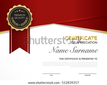 Diploma certificate template red gold color stock vector 552839257 diploma certificate template red and gold color with luxury and modern style vector image yadclub Choice Image