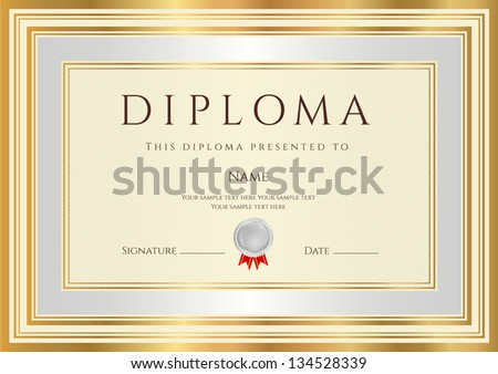Diploma / Certificate template with guilloche pattern, silver and gold border. Background design usable for invitation, gift voucher, coupon, official or awards. Vector of second place with medal - stock vector