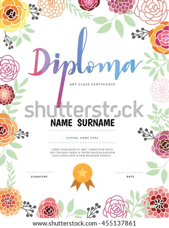 Diploma Art Class Certification Stock Vector 455137861 - Shutterstock