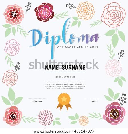 Diploma Art Class Certification Stock Vector 455147377 - Shutterstock