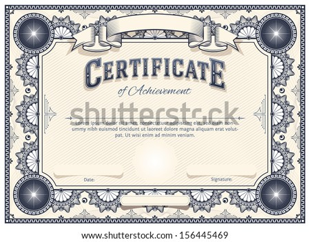 Diploma or Certificate Vector Template with Custom Typography - stock vector