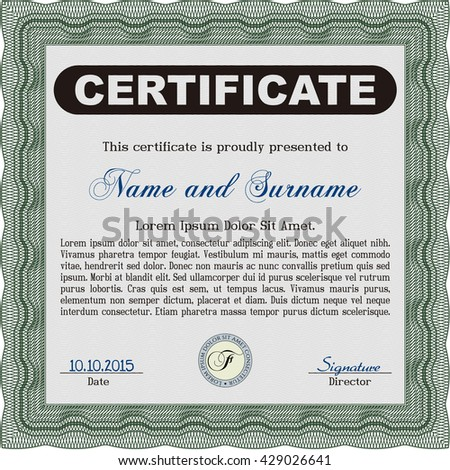 green certificate diploma award template cordial stock vector  diploma template excellent design vector illustration complex background green color