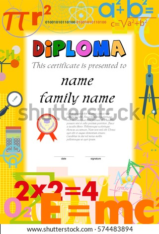 Diploma Template Kids Certificate Background Scientific ...