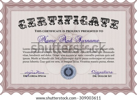 Diploma Template Certificate Template Money Style Stock Vector