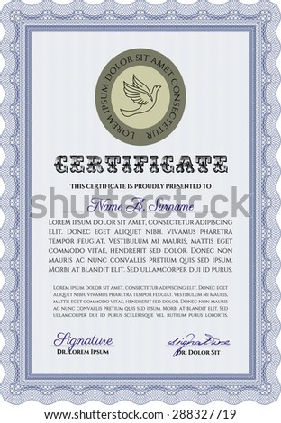 Diploma template or certificate template. Vector pattern that is used in currency and diplomas.With linear background. Cordial design.
