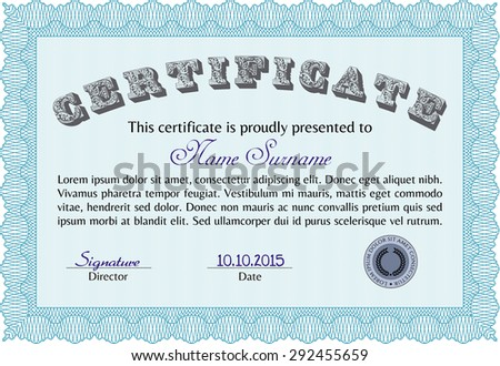 Diploma certificate template elegant design guilloche stock vector diploma template or certificate template vector pattern that is used in currency and diplomas yadclub Image collections