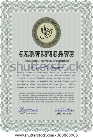 Diploma template or certificate template. Vector pattern that is used in money and certificate. With quality background. Beauty design. Green color.