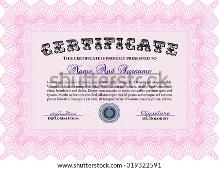 Diploma template or certificate template. With quality background. Superior design. Diploma of completion.