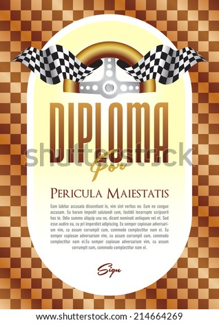 Diploma with a motif of the steering wheel and starting board for the winner of motor sport, motor-sports championship race go-karts, auto veteran, veteran race, historic car ride, cars, trucks - stock vector