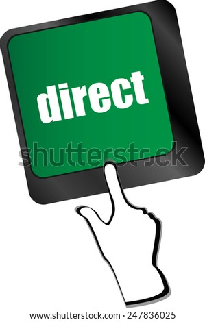 direct - educational concept. Button on Modern Computer Keyboard - stock vector