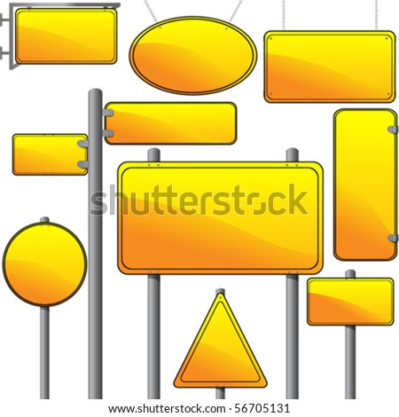 Direction and advertise signs over white background, vector - stock vector