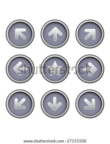 Direction arrow icons on modern vector button set - stock vector