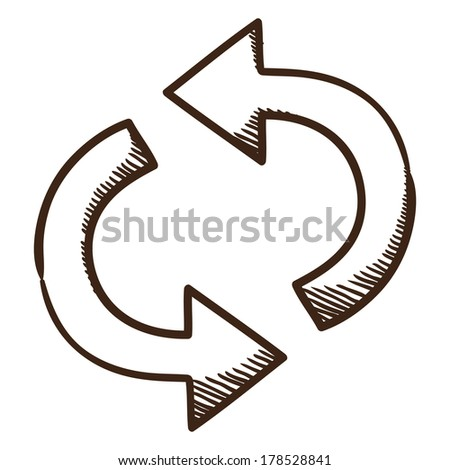 Direction arrow. Sketch symbol isolated on white. - stock vector