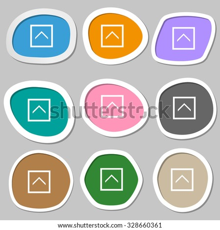Direction arrow up  icon symbols. Multicolored paper stickers. Vector illustration - stock vector