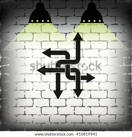Direction arrows sign. Movement in an unknown direction. Uncertainty choice. - stock vector