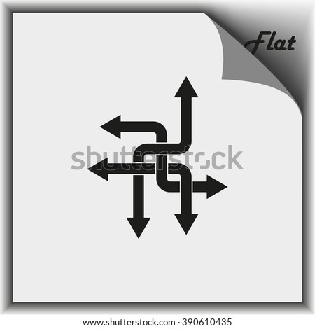 Direction arrows sign. Movement in an unknown direction. Uncertainty choice. Arrows icon, arrows icon eps10, arrows icon vector, arrows icon jpg, arrows flat icon, arrows icon app, arrows icon web. - stock vector