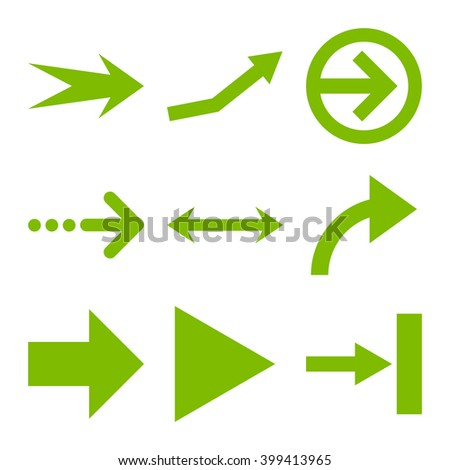Direction Arrows vector icon set. Collection style is eco green flat symbols on a white background.