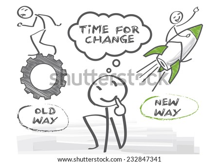 Direction choices and decisions for thoughtful stick figure - stock vector