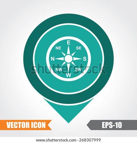 Direction Compass Icon On Map Pointer. Eps.-10. - stock vector